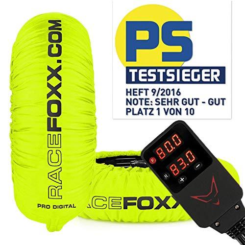 Reifenwärmer RACEFOXX PRO DIGITAL bis max. 99° C SUPERBIKE, 120/17 vorne und 180 bis 200/17 hinten neon gelb (Reifenwärmer Motorrad)