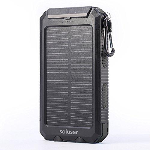 Soluser 10000mAh cargador solar portátil Batería externa Cargador de unidades,...