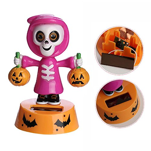 Federn Tanzen Spielzeug Solar Auto Kopfschütteln Dekoration - Innovative Halloween Swinging Animierte Kürbis-Puppen Dekoration Shaking Head Doll