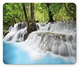 Waterfall Mouse Pad by, Mystic Erawan Waterfall in Forest Foggy Over Pool Tropical Jungle, Standard Size Rectangle Non-Slip Rubber Mousepad, Pale Blue Green White