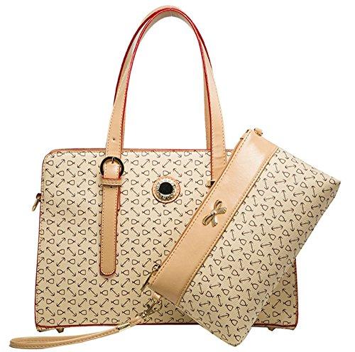YAAGLE Damen Handtasche Geldbörse Schultertasche Set Europäisch-Stil Handtasche moderne Geldbörse Tote-tasche 2 pcs Beutel khaki