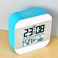Mute minimalismo studente pigro luminoso qualcuno guarda un letto post piccola sveglia digitale di temperatura misuratore di umidità,lago blu
