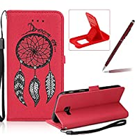 Leather Case for Samsung Galaxy A7 2017 A720,Strap Flip Wallet Cover for Samsung Galaxy A7 2017 A720,Herzzer Luxury Stylish Shining Bling Glitter Dreamcatcher Design Red PU Leather Stand Card Holder and ID Slot Money Pouch Magnetic Clasp Slim Flip Protect