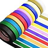Set nastri adesivi Washi in 12 rotoli, nastro adesivo decorativo Washi colorato, nastro adesivo decorativo Washi decorativo per disegni di libri artigianali fai da te (2,5cm * 10m)