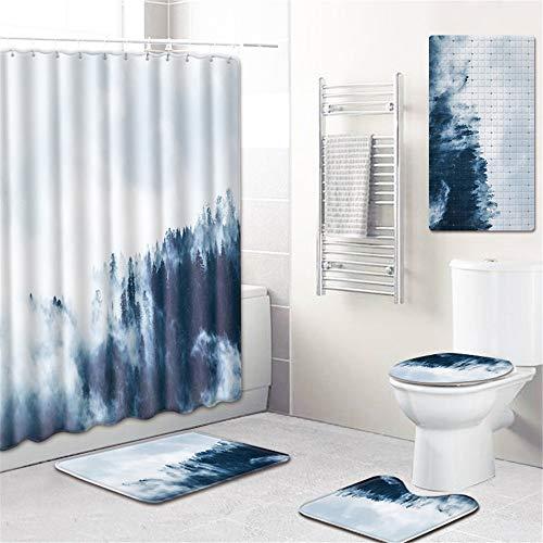 PPWYY 5 Stück Rutschfestes Badezimmer Teppiche Sockel Aufstellen Teppich + Deckel Toilette Bezug + Badvorleger Dauerhaft Wasserdicht Dusche Vorhang Einstellen,J