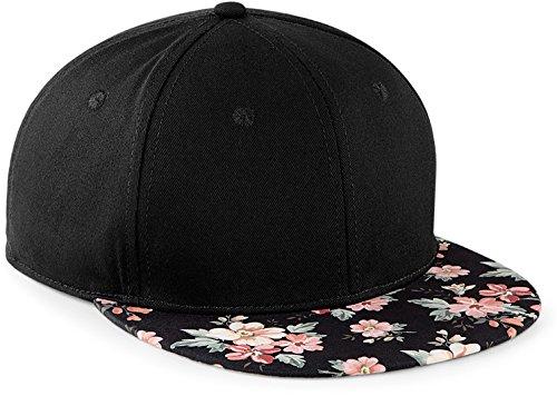 Hüte Frauen Schwarz Für Sommer (Snapback Damen Frauen schwarz Floral Blumen Snapback Cap Mütze Hut pink rosa schwarz Blumenmuster Muster Trend Fashion)