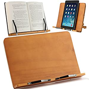 Hervorragender Buchhalter aus Holz, verwendbar als Leseständer, Buchständer, Notenständer, Buchstützen oder Tablet und iPad Ständer. Zeitgemäßes Design. Stabil, liegend und klappbar. Ein wesentliches Lesezubehör
