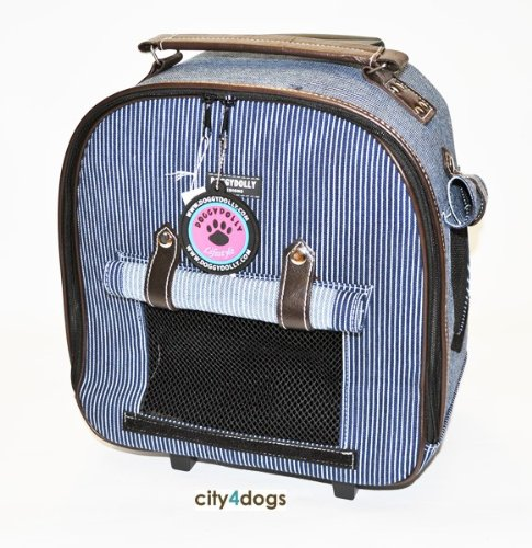 DOGGY DOLLY Streifen-Jeans Hunde-Trolley