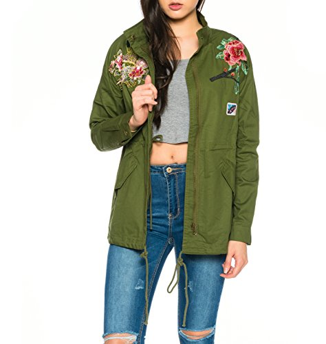Dress Sheek Damen Parka Jacke mit Rose Patches Stickerei Reißverschluss Vintage Bikerjacke Kurz Jacken Mantel Armee grün