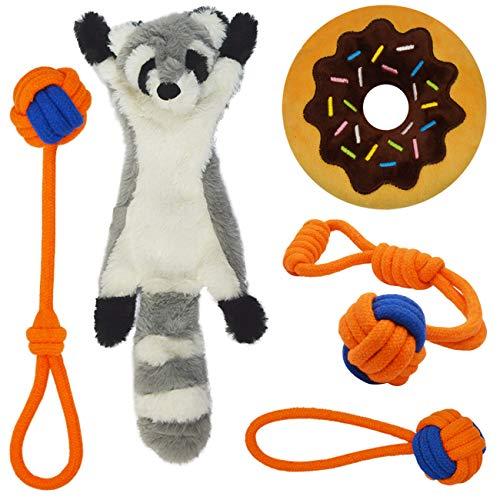 lunaoo Welpenspielzeug, 5pcs Interaktives Hundespielzeug für Kleine & mittlere Hunde, Baumwollknoten Spielset Quietschende Plüsch Hundespielzeug für Zahnreinigung