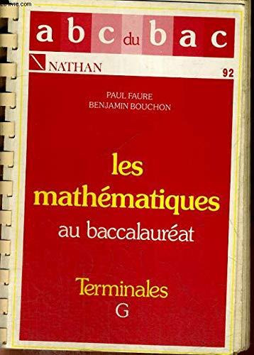 Mathematiques au baccalauréat, terminales g