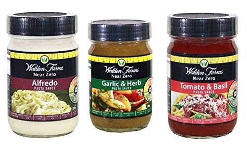Walden Farms Almost Calorie Free Pasta Sauce 340g(Tomato & Basil,Alfredo and Garlic & herb)