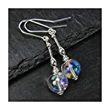 Clear Quartz Crystal Earrings Titanium Aura Sterling Silver Ear Wires Gift Box by Diosa Jewellery