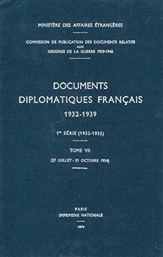 Documents Diplomatiques Francais, 1934: 27 Juillet - 31 Octobre