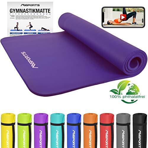 MSPORTS Gymnastikmatte Premium inkl. Übungsposter + Tragegurt + Workout App GRATIS | Hautfreundliche - Phthalatfreie Fitnessmatte - Violett - 190 x 100 x 1,5 cm - sehr weich-extra dick | Yogamatte