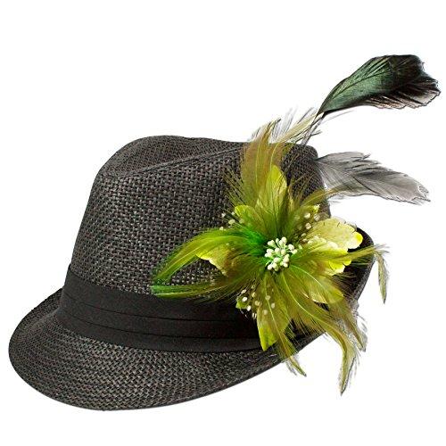 Alpenflüstern Damen Strohhut Trachtenhut schwarz mit Feder-Clip ADV03000051 hellgrün