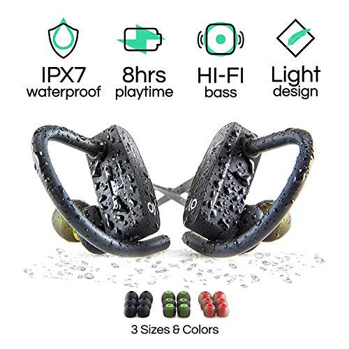 Écouteurs POP Design Bluetooth sans-Fil avec Micro, Les écouteurs Intra-Auriculaires sans-Fil pour Le Sport, Différentes Tailles pour Homme et Femme, Étanchéité IPX7, Portée 9 m