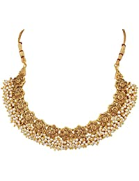 Anand Creations Non Precious Pearl& Zircon Stone Gold Plated Necklace & Earring Set For Women