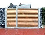 Einfahrtstor 300cm breit und 180cm hoch / Hochwertiges 2-flügeliges asymmetrisch geteiltes Tor / Aufteilung 1,0m + 2,0m / Verzinkt mit Holzfüllung / Holz Tor Gartentor