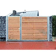 Einfahrtstor 400cm breit und 180cm hoch / Hochwertiges 2-flügeliges asymmetrisch geteiltes Tor / Aufteilung 1,5m + 2,5m / Verzinkt mit Holzfüllung / Holz Tor Gartentor