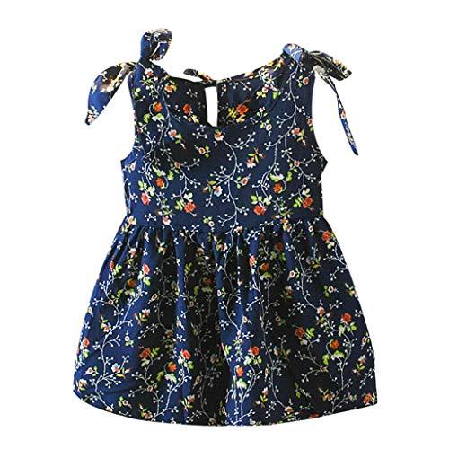 KIMODO Baby Mädchen Kleid Bänder Kleinkind Blumen Drucken Bogen ärmellos Kleid Urlaub Sommerkleid Prinzessin Partykleider (Blush-kleid-blumen-mädchen)