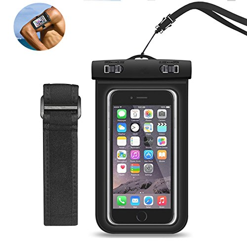 Waterproof phone Case, OLEBR Dry Bag Underwater Pouch with Armband Watertight Bag for 7plus, 6 plus, 6s, 5s,HTC,LG, Sony, Nokia; Harmless PVC&ABS Construction Pouch
