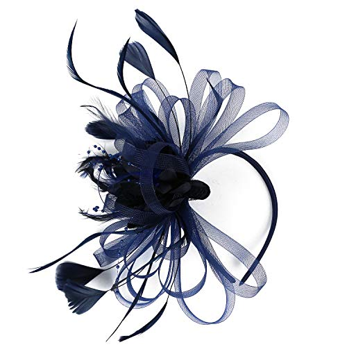 471c4c4d Fascinator Hat Feather Mesh Net Veil Party Hat Ascot Hats Flower Derby Hat  with Clip and