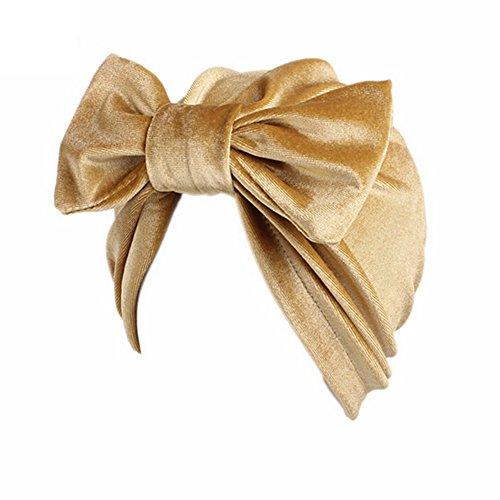 CHIRORO Damen Kopftuch Velvet Turban Hut mit Abnehmbarem Bogen-Knoten Muslimischer Bandana Chemo Cap Stirnband Headwrap Kopfbedeckung Für Krebs, Haarausfall, Schlaf,Gold -