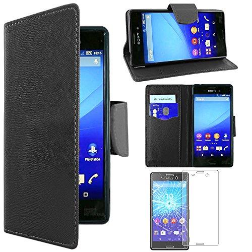 ebestStar - Sony Xperia M4 Aqua Hülle M4 Aqua Dual Kunstleder Wallet Case Handyhülle [PU Leder], Kartenfächern, Standfunktion, Schwarz + Panzerglas Schutzfolie [M4 Aqua: 145.5 x 72.6 x 7.3mm, 5.0'']