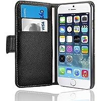 SAVFY® Housse iPhone 6/6S 4.7 Pouces rabat portefeuille Cuir pour iphone 6/6S (Noir) + FILM D'ECRAN + STYLET OFFERTS!