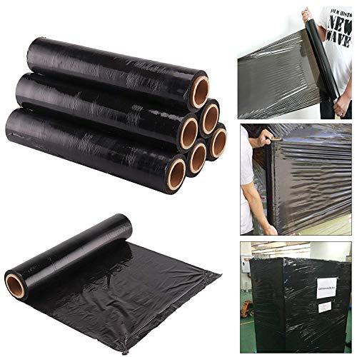 Rollos de film negro elástico para paquetes postales (400mm x 250m), negro, Pack de 6