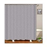 Daesar 3D Duschvorhang Antischimmel Streifen Grau Vintage Duschvorhang aus Polyester-Stoff 165x180 cm