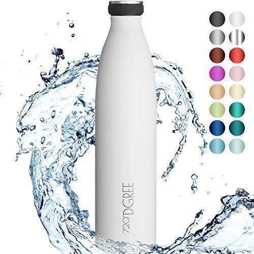 """720°DGREE Edelstahl Trinkflasche \""""milkyBottle\"""" - 1L - BPA-Frei, Auslaufsicher, Kohlensäure geeignet - Thermosflasche für Sprudel, Sport, Uni, Schule, Fitness, Outdoor, Camping"""