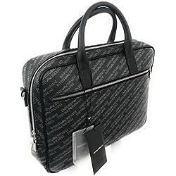 Emporio Armani - Bolso de asas de cuero sintético para hombre Negro Negro 39X28,5X8