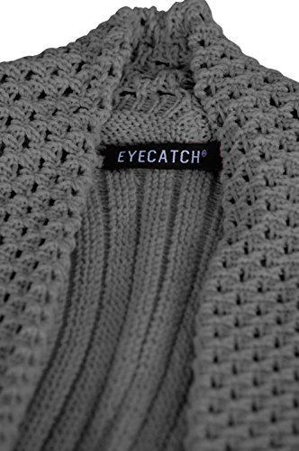 EyeCatch - Vienna Open Front Crocheted Knit Draped Waterfall Cardigan Sombre Gris