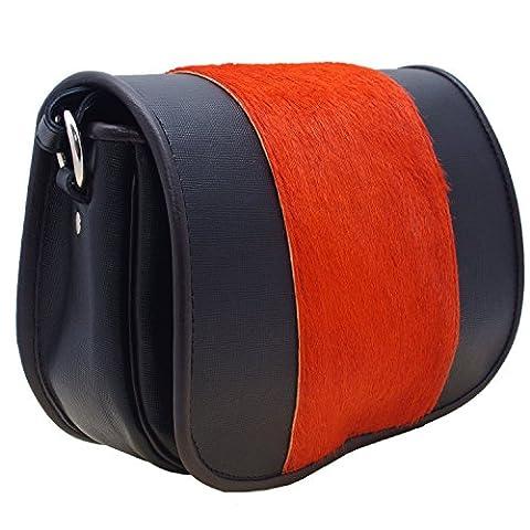 Koson leather Leder-Pelz-handgemachter Schultaschen-Schulter-Handtaschen-Kurier-Beutel