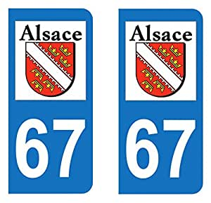 Paire Sticker immatriculation 67 - Bas Rhin