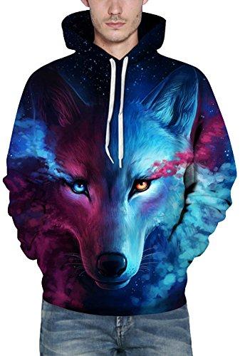 Bettydom Herren Galaxy Stil Unisex Slim Langarm Casual Wear Mann Sweatshirt Kapuzenpullover Hoodies Wolf 3