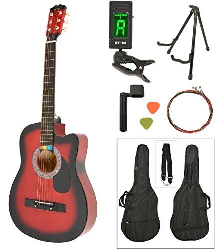 Akustik Western Gitarre Westerngitarre in Rot Sunburst mit Gitarrentasche, LCD Stimmgerät, Gitarrenständer und Zubehör