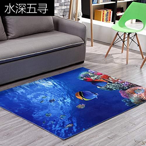 Mengjie 3D Cartoon Teppich Blue Ocean Fish Area Teppich rutschfeste Matte Wohnzimmer Schlafzimmer Kinderzimmer Dekoration Märchen Teppiche 160x230CM - Blue Area Teppich