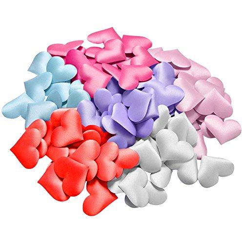 Gosear 1200 Stk Satin Stoff Herz Form Scatter Konfetti Blütenblätter Künstliche Blume für Hochzeit Partei Geburtstag Tabelle Dekoration Bunt