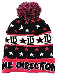 One Direction Official Licensed 1D Pink Black White Beanie Bobble Hat One Size