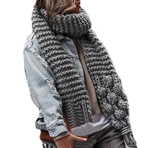 Bearbelly  Dicker Schal Damen Strickschal Lang XXL Warme Grobstrick Schal Oversize Winterschal Herbstschal, 140 x 140 cm / 55,1 x 55,1 Zoll