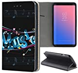 Samsung Galaxy Xcover 3 G388 Hülle Premium Smart Einseitig Flipcover Hülle Samsung Xcover 3 Flip Case Handyhülle Galaxy Xcover 3 Motiv (1155 Music Noten Schwarz Blau)