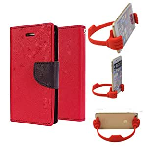 Aart Fancy Diary Card Wallet Flip Case Back Cover For HTC626 - (Red) + Flexible Portable Mount Cradle Thumb Ok Stand Holder By Aart store