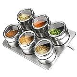Küche sechs Kombination Edelstahl-Gewürzgläser,Gewürztank,Es ist bequem,Gewürze zu speichern,Gewürzdosen Wirksam Sparen Gewürze Nicht feucht,Edelstahl,mit Stent Einfach zu bedienen THKJW