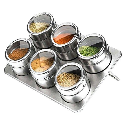 6pcs acciaio inossidabile Spice Jars magnetica doppia