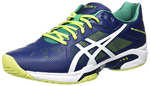 Asics Gel-Solution Speed 3 Scarpe da Tennis, Uomo, Multicolore (Indigo Blue/White/Lime), 41.5