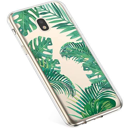Uposao Kompatibel mit Samsung Galaxy J7 2017 Hülle Crystal Case Schutzhülle Hülle mit Muster Motiv Transparent TPU Silikon Durchsichtig Stoßfest Handyhülle Backcover Tasche,Grün Blatt