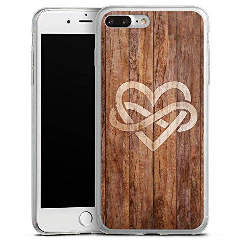 Apple iPhone 8 Plus Slim Case Silikon Hülle Schutzhülle Herz Liebe Holz Silikon Slim Case transparent